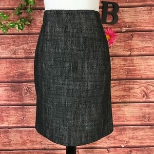 Banana Republic Skirt 4 Black White Tweed Straight